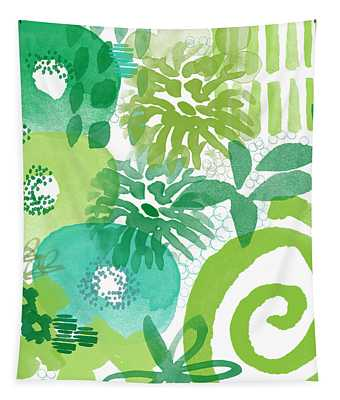 Green Garden- Abstract Watercolor Painting Tapestry