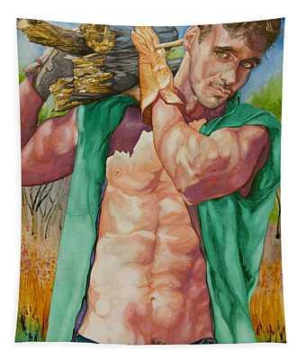 Green Lumberjack Tapestry