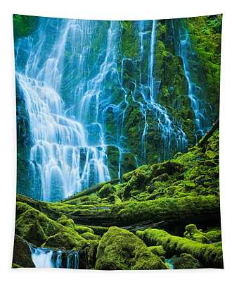 Green Waterfall Tapestry