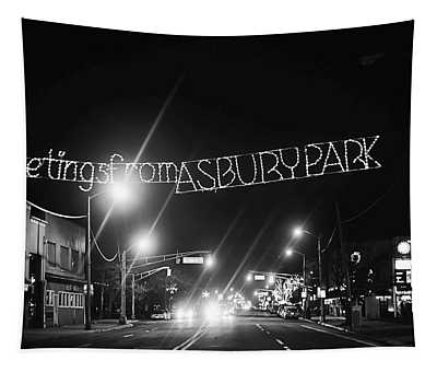 Greetings From Asbury Park New Jersey Black And White Tapestry