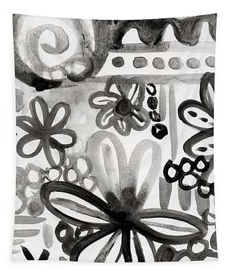 Grey Garden- Abstract Floral Painting Tapestry