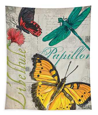 Grey Postcard Butterflies 3 Tapestry