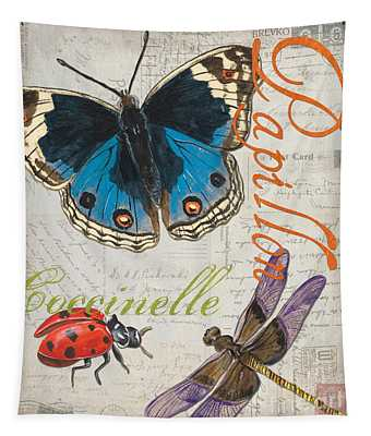 Grey Postcard Butterflies 4 Tapestry