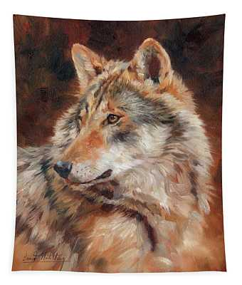 Grey Wolf Portrait Tapestry
