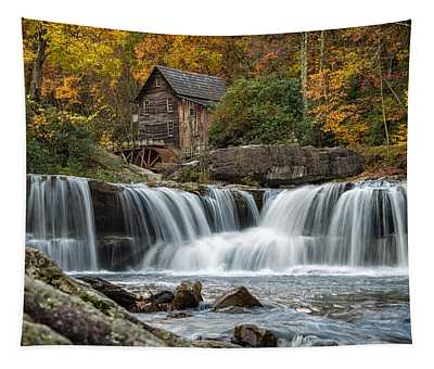 Grist Mill With Vibrant Fall Colors Tapestry