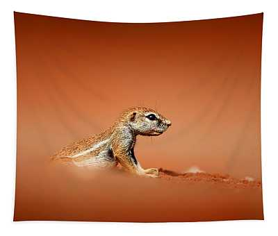 Ground Squirrel On Red Desert Sand Tapestry