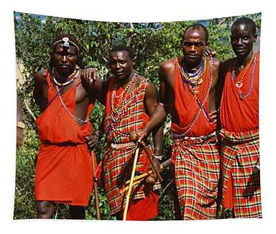 Group Of Maasai People Standing Side Tapestry