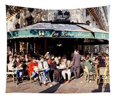 Group Of People At A Sidewalk Cafe, Les Tapestry