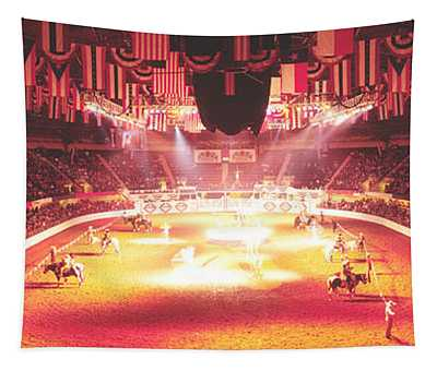 Group Of People Performing With Horses Tapestry