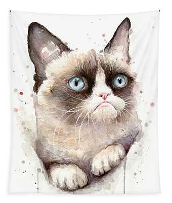 Grumpy Cat Watercolor Tapestry