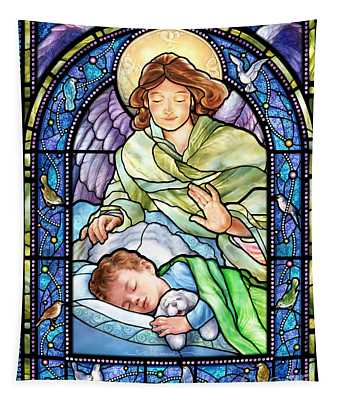Guardian Angel With Sleeping Boy Tapestry
