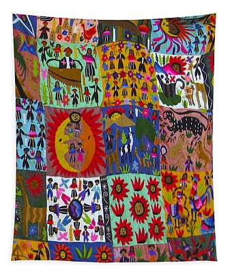 Guatemala Folk Art Quilt Tapestry