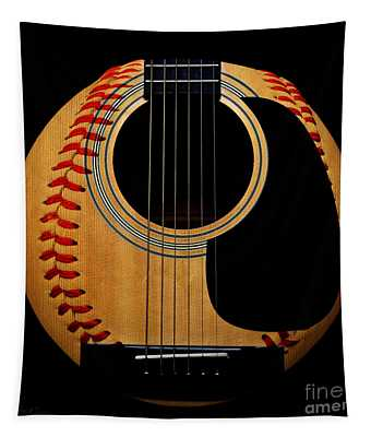 Guitar Baseball Square Tapestry