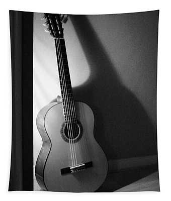 Guitar Still Life In Black And White Tapestry