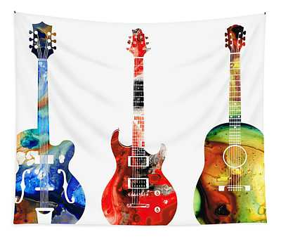 Guitar Threesome - Colorful Guitars By Sharon Cummings Tapestry