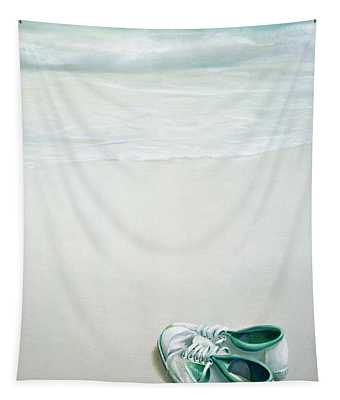 Gym Shoes On Beach Tapestry