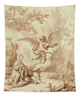 Hagar In The Wilderness Drawing Tapestry