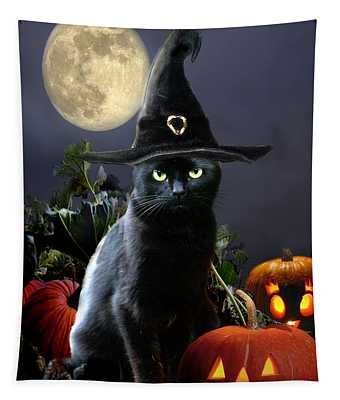 Witchy Black Halloween Cat Tapestry