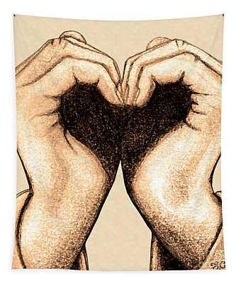 Hand Heart Tapestry