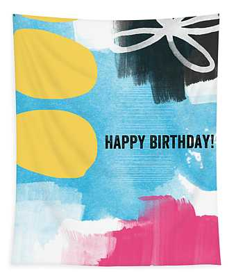 Happy Birthday- Colorful Abstract Greeting Card Tapestry