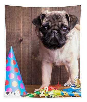 Happy Birthday Cute Pug Puppy Tapestry