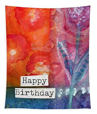 Happy Birthday- Watercolor Floral Card Tapestry