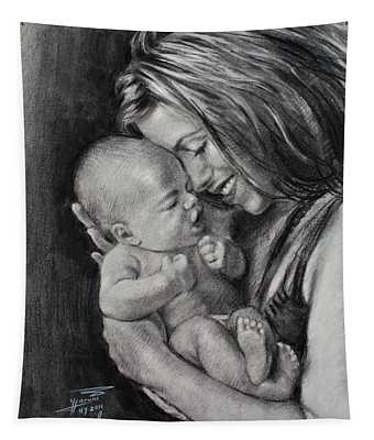 Happy Young Mother Tapestry