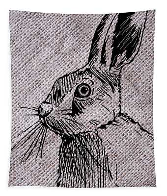 Hare On Burlap Tapestry