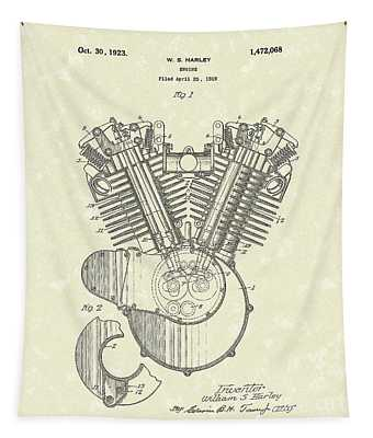 Harley Engine 1923 Patent Art Tapestry