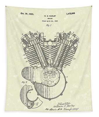 Harley Engine 1923 Patent Art Tapestry