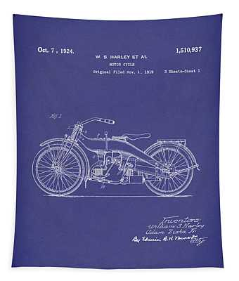 Harley Motorcycle 1924 Patent Art Blue Tapestry by Prior Art Design