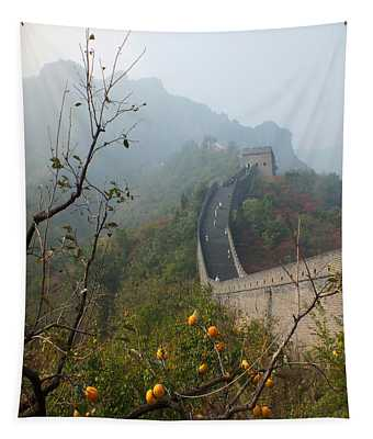 Harvest Time At The Great Wall Of China Tapestry