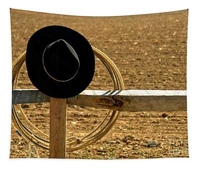 Hat And Lasso On Fence Tapestry