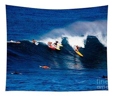 Hawaii Oahu Waimea Bay Surfers Tapestry