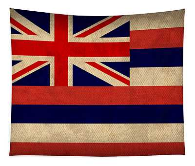 Hawaii State Flag Art On Worn Canvas Tapestry