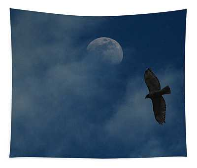 Hawk And Moon Coming Out Of The Mist Tapestry