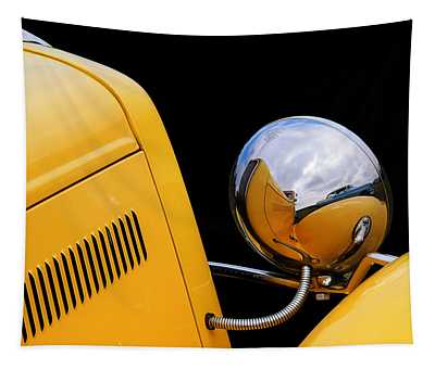 Headlight Reflections In A 32 Ford Deuce Coupe Tapestry