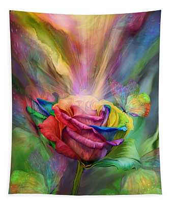 Tapestry featuring the mixed media Healing Rose by Carol Cavalaris