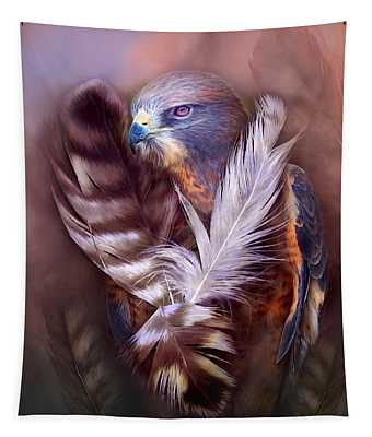 Tapestry featuring the mixed media Heart Of A Hawk by Carol Cavalaris