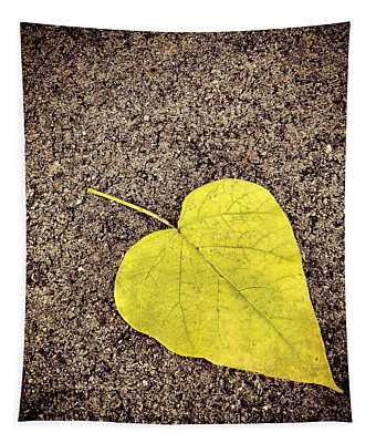Heart Shaped Leaf On Pavement Tapestry