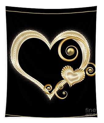 Hearts In Gold And Ivory On Black Tapestry