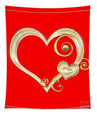 Hearts In Gold And Ivory On Red Tapestry