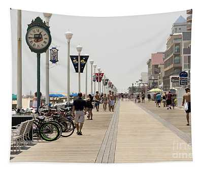 Heat Waves Make The Boardwalk Shimmer In The Distance Tapestry