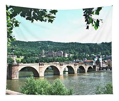 Heidelberg Schloss Overlooking The Neckar Tapestry