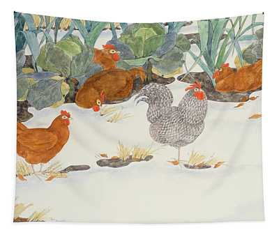 Hens In The Vegetable Patch Tapestry