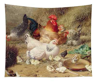 Hens Roosting With Their Chickens Tapestry