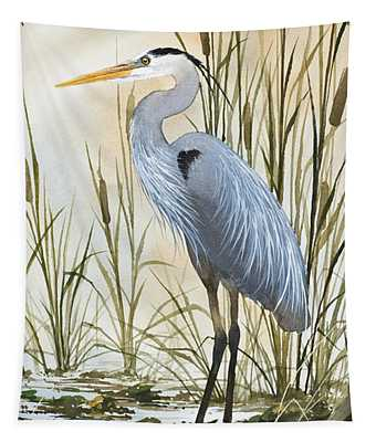 Heron And Cattails Tapestry