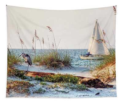 Heron And Sailboat Tapestry