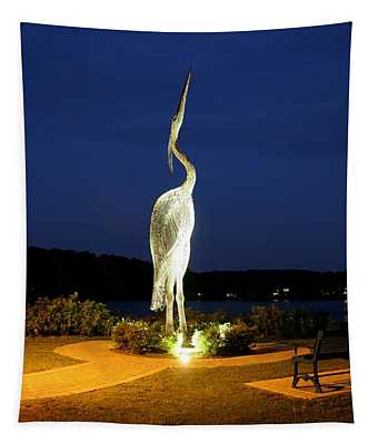 Heron On Mill Pond Tapestry