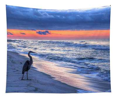 Heron On Mobile Beach Tapestry